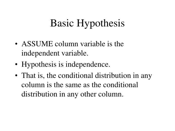 Basic Hypothesis