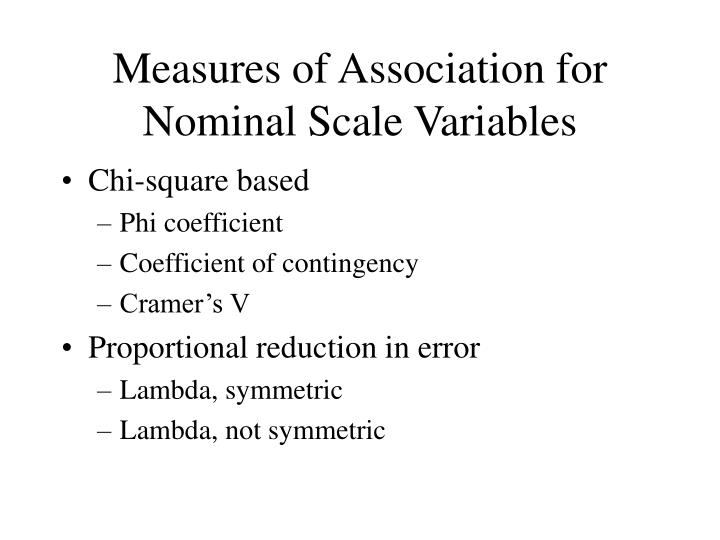 Measures of Association for Nominal Scale Variables