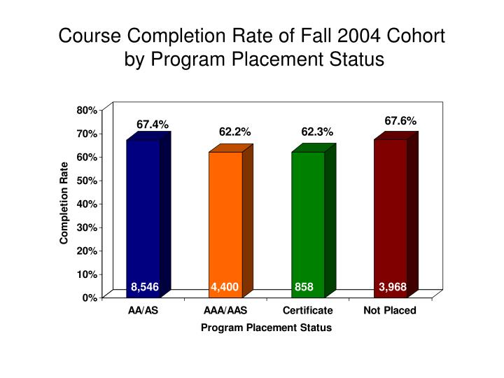 Course Completion Rate of Fall 2004 Cohort