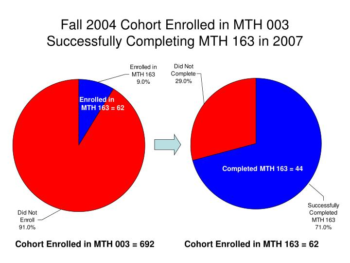 Fall 2004 Cohort Enrolled in MTH 003 Successfully Completing MTH 163 in 2007