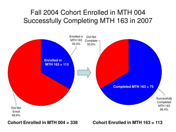 Fall 2004 Cohort Enrolled in MTH 004 Successfully Completing MTH 163 in 2007