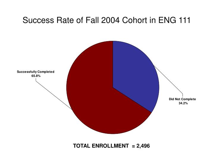 Success Rate of Fall 2004 Cohort in ENG 111