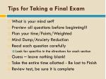 tips for taking a final exam