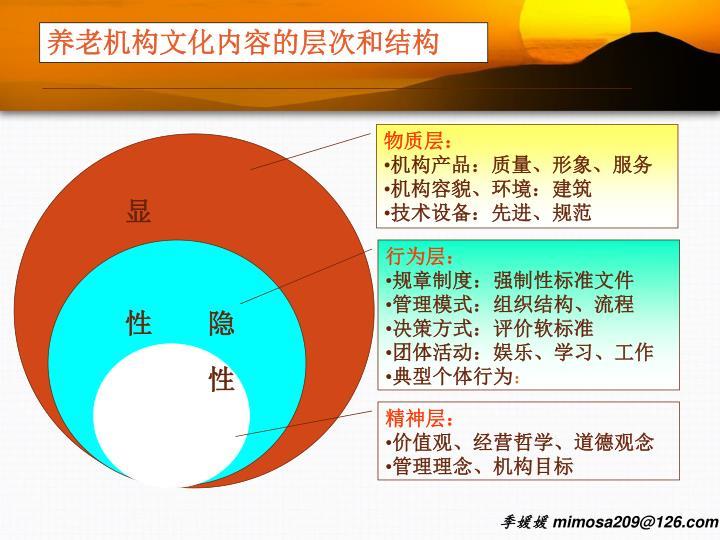 养老机构文化内容的层次和结构