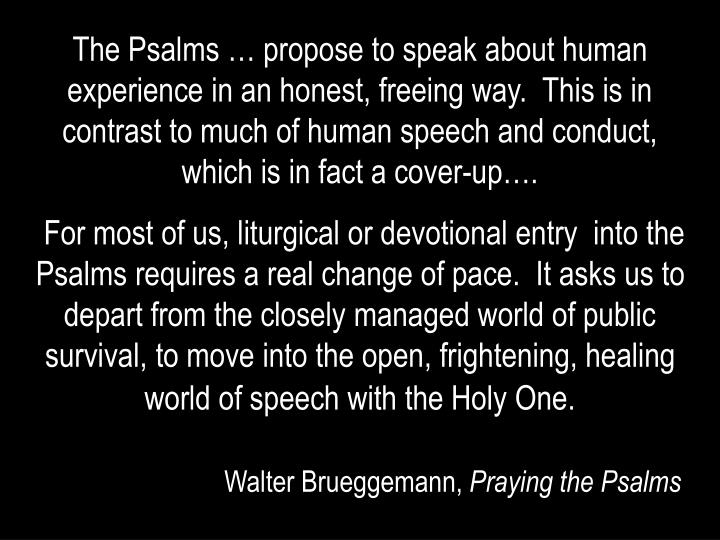 The Psalms … propose to speak about human experience in an honest, freeing way.  This is in contrast to much of human speech and conduct, which is in fact a cover-up….