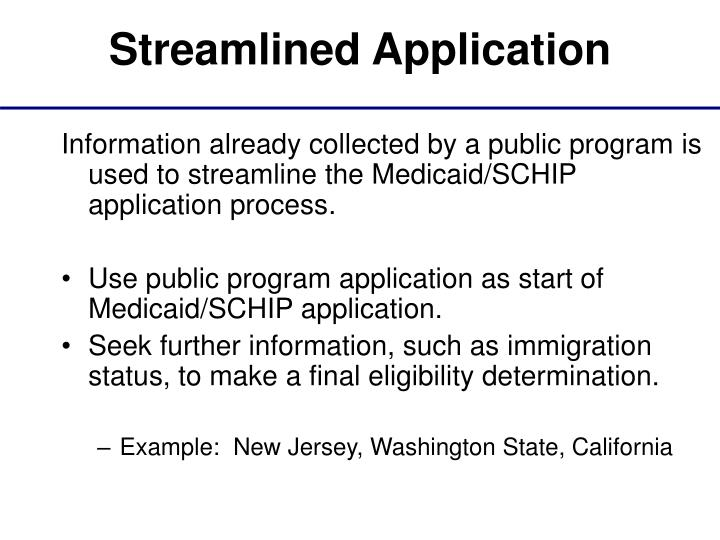Streamlined Application