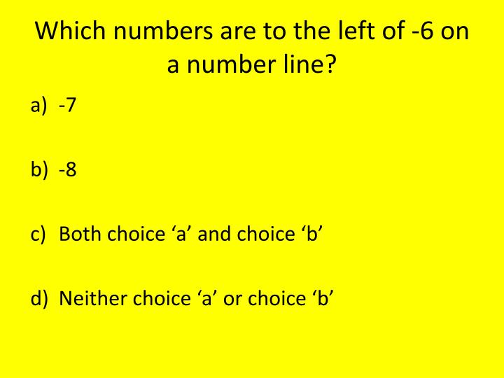 Which numbers are to the left of -6 on a number line?