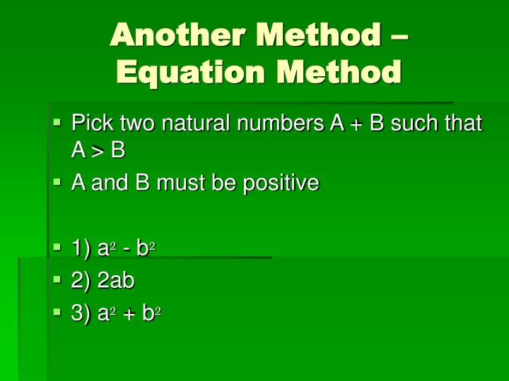 Another Method – Equation Method