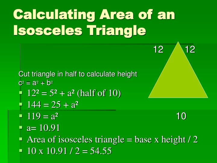 Calculating Area of an Isosceles Triangle