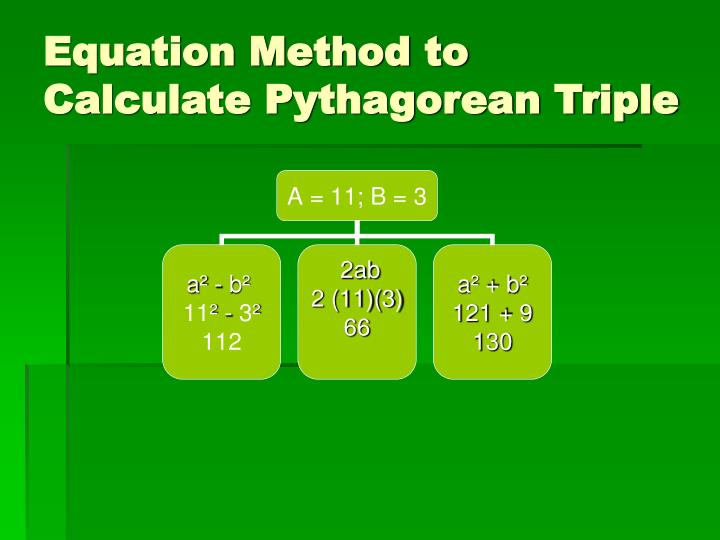 Equation Method to Calculate Pythagorean Triple