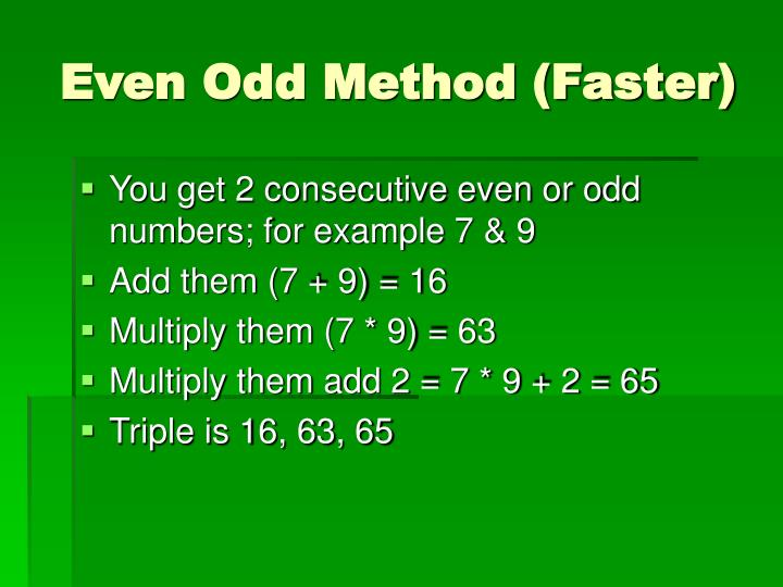Even Odd Method (Faster)
