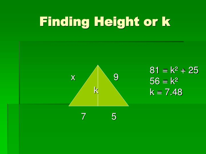 Finding Height or k