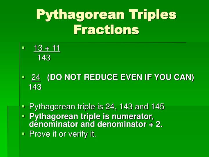 Pythagorean Triples Fractions