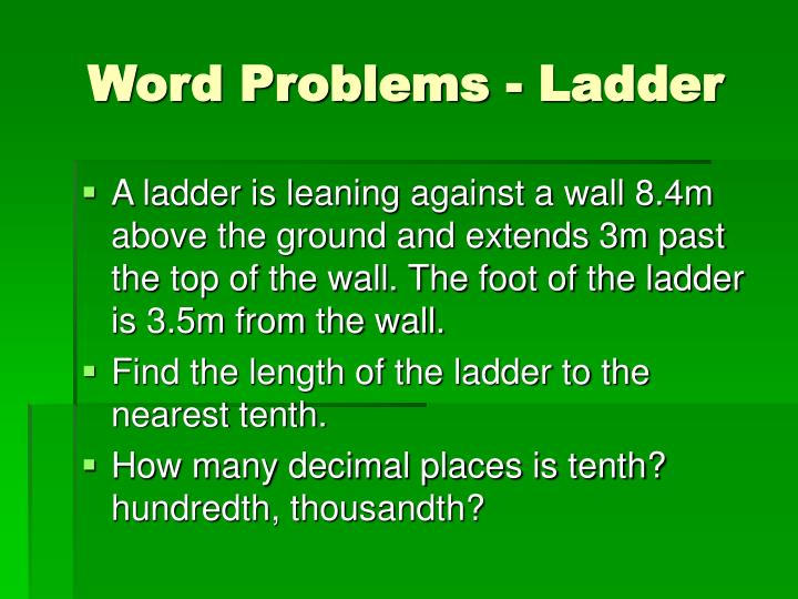 Word Problems - Ladder