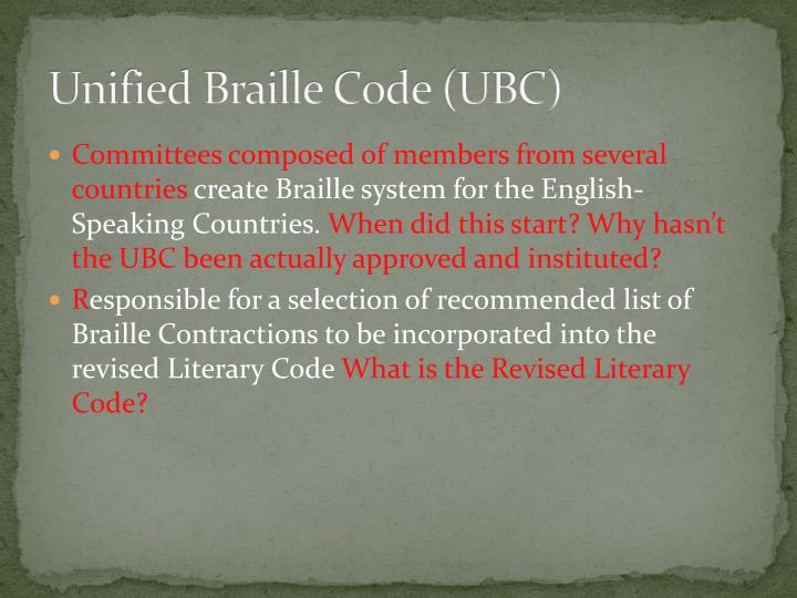 Unified Braille Code (UBC)