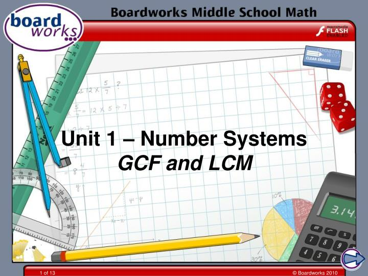 Unit 1 number systems gcf and lcm