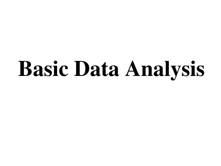 Basic data analysis
