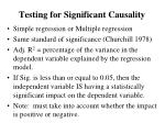 testing for significant causality