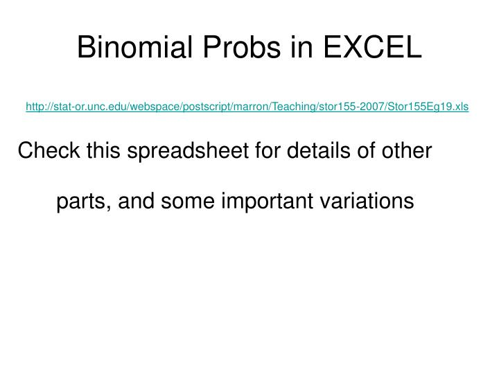Binomial Probs in EXCEL