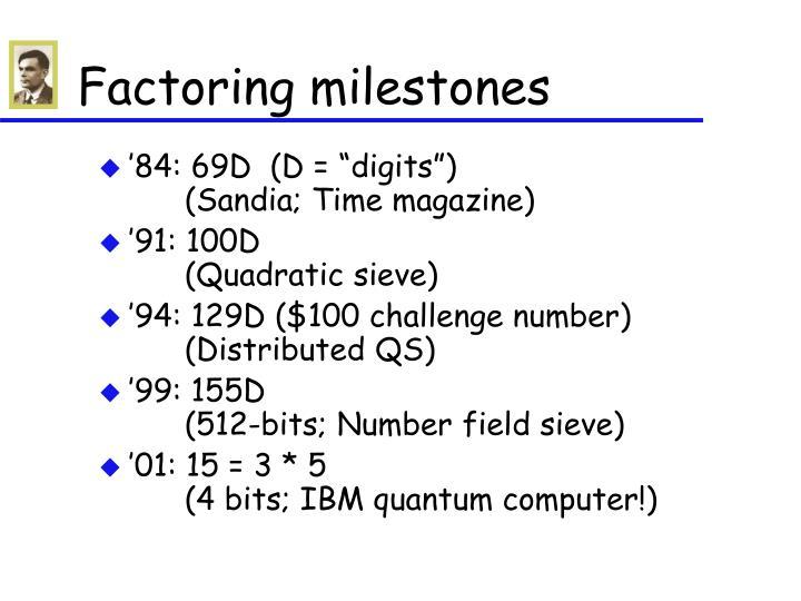 Factoring milestones