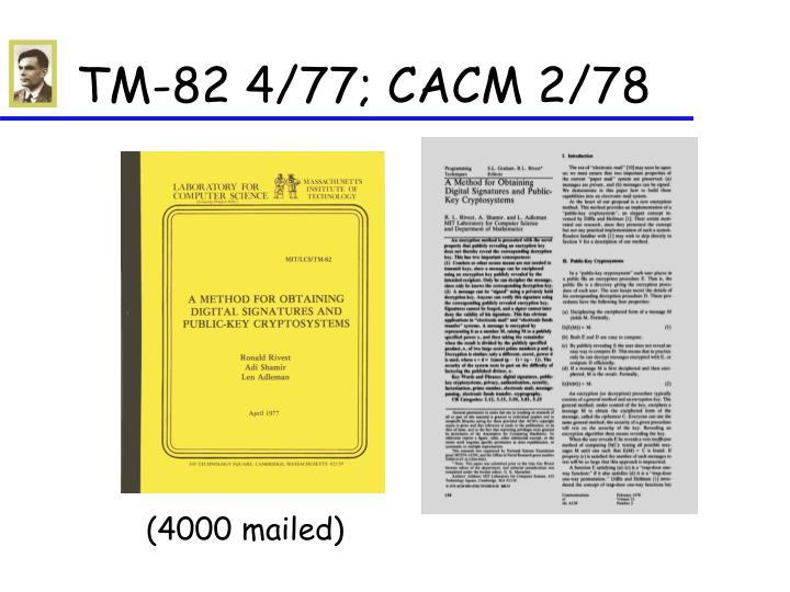 TM-82 4/77; CACM 2/78