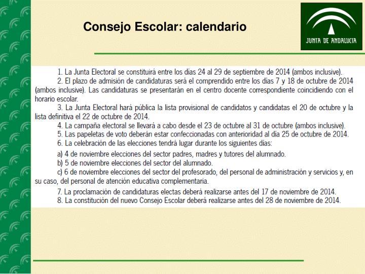 Consejo Escolar: calendario