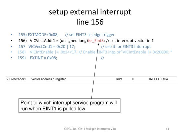 setup external interrupt