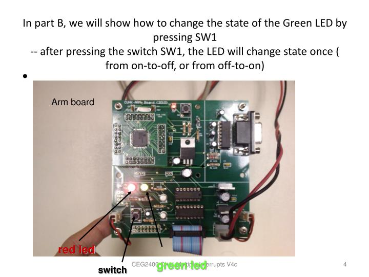 In part B, we will show how to change the state of the Green LED by pressing SW1