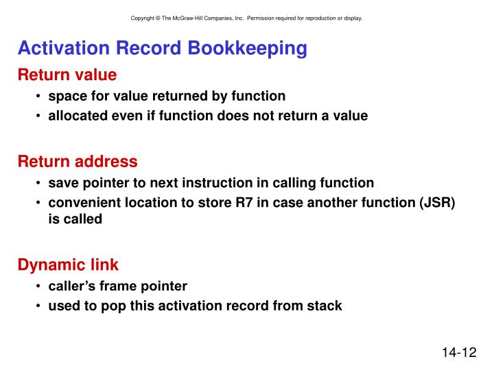 Activation Record Bookkeeping