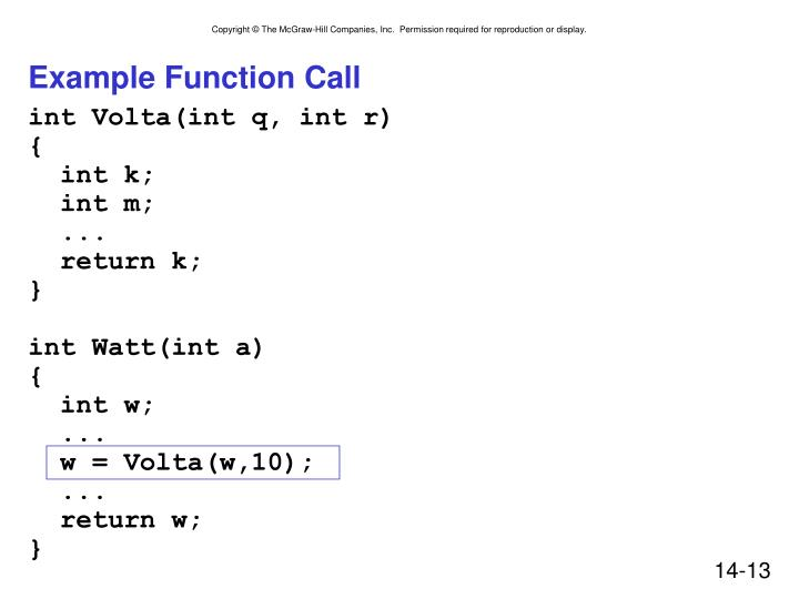 Example Function Call