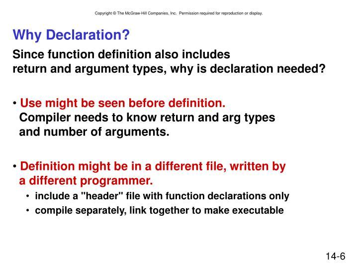 Why Declaration?