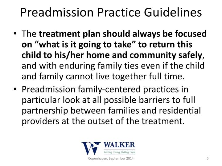 Preadmission Practice Guidelines