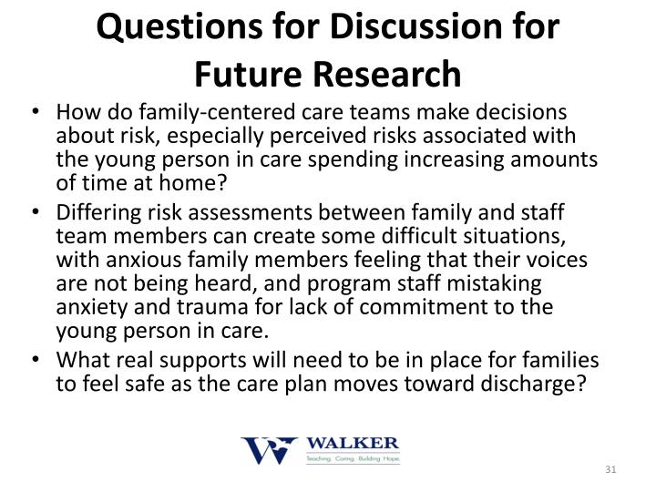Questions for Discussion for Future Research