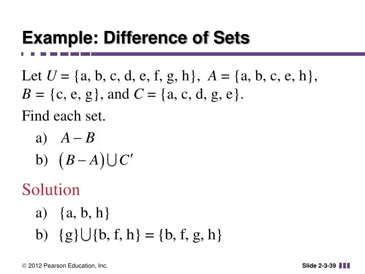 Example: Difference of Sets