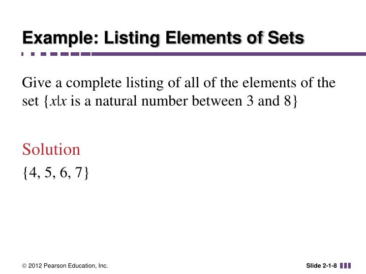 Example: Listing Elements of Sets