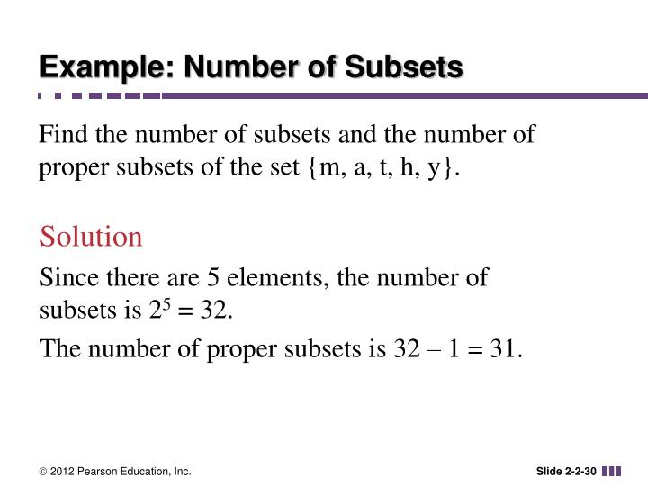 Example: Number of Subsets