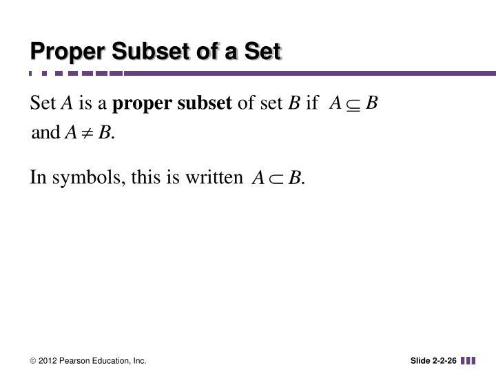 Proper Subset of a Set