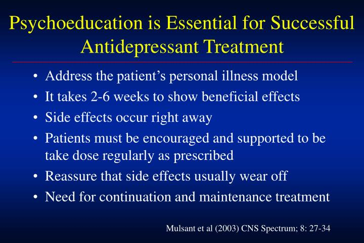 Psychoeducation is Essential for Successful Antidepressant Treatment