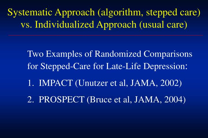 Systematic Approach (algorithm, stepped care) vs. Individualized Approach (usual care)