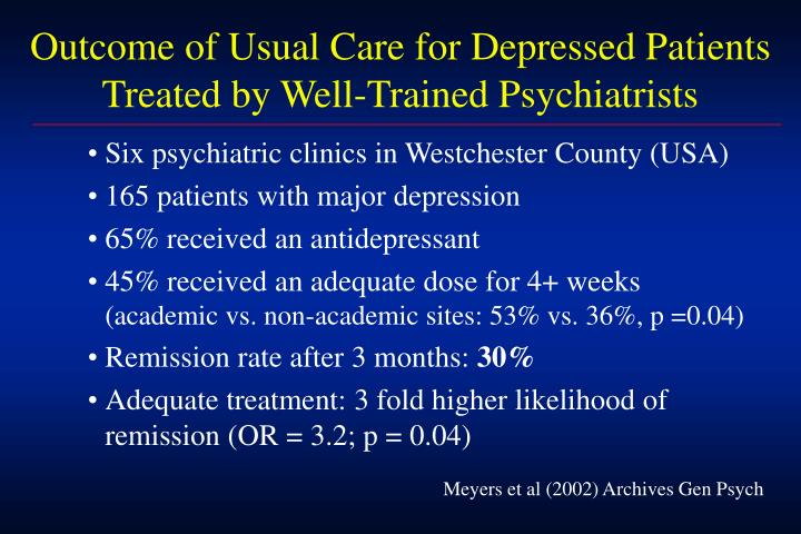 Outcome of Usual Care for Depressed Patients
