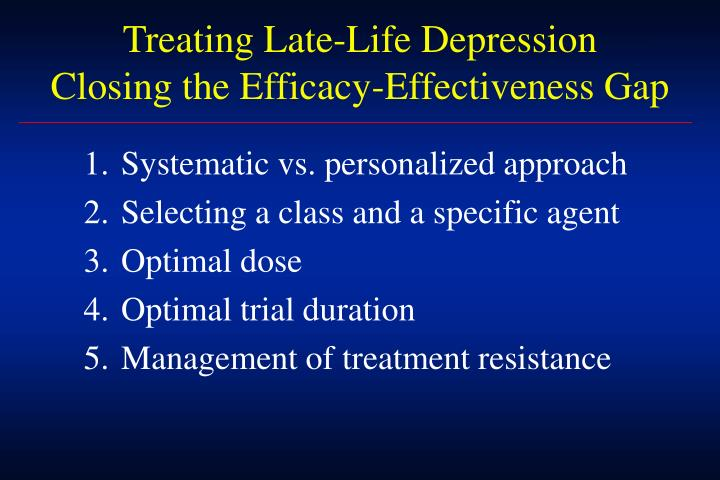 Treating Late-Life Depression