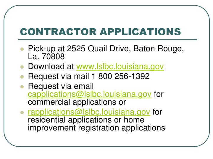 Contractor applications