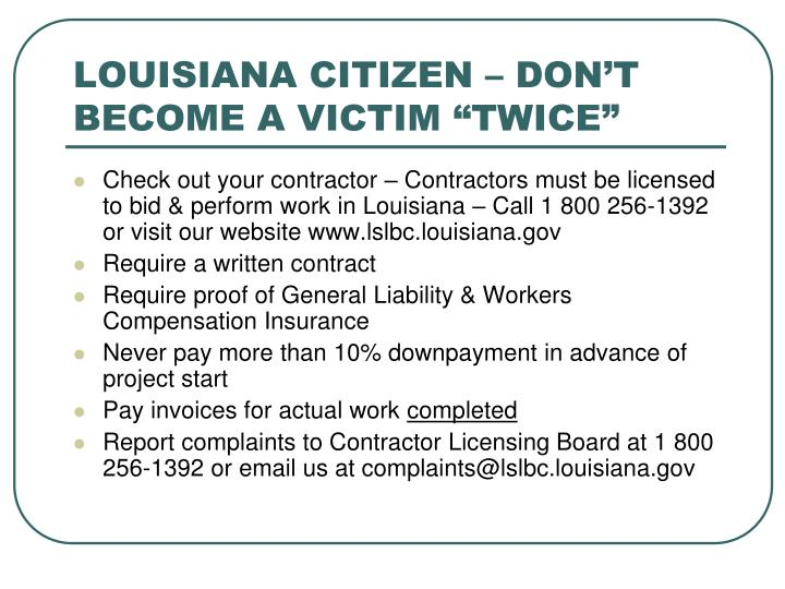 "LOUISIANA CITIZEN – DON'T BECOME A VICTIM ""TWICE"""