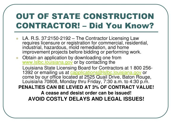 OUT OF STATE CONSTRUCTION CONTRACTOR! – Did You Know?