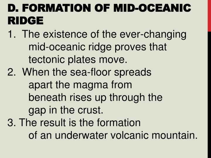 D. Formation of Mid-Oceanic Ridge