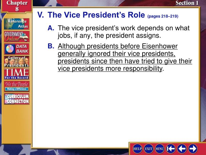 V.The Vice President's Role