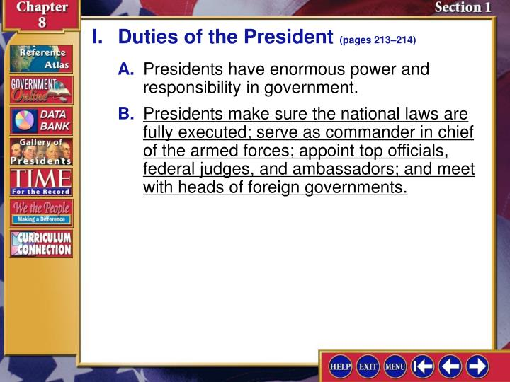 I.Duties of the President