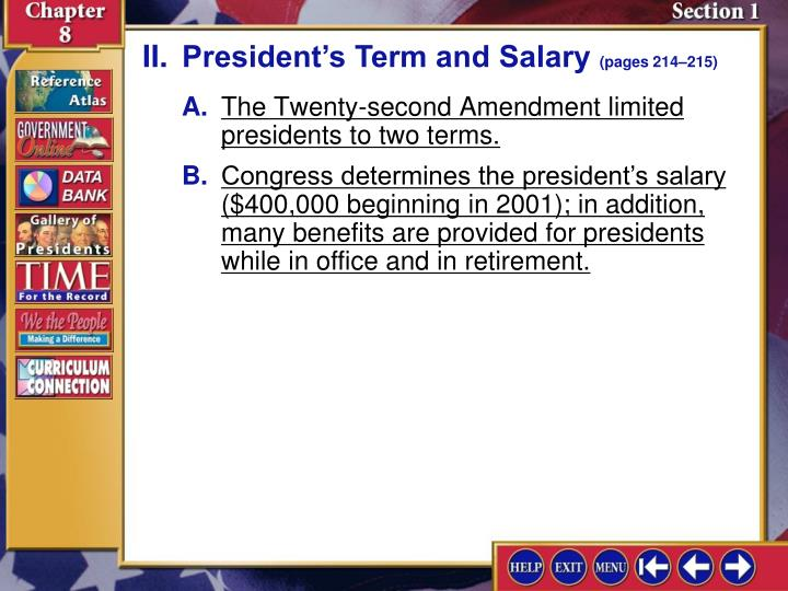 II.President's Term and Salary
