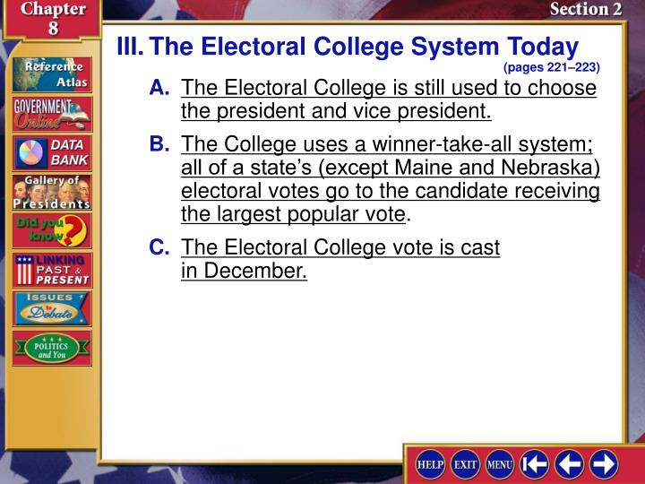 III.The Electoral College System Today