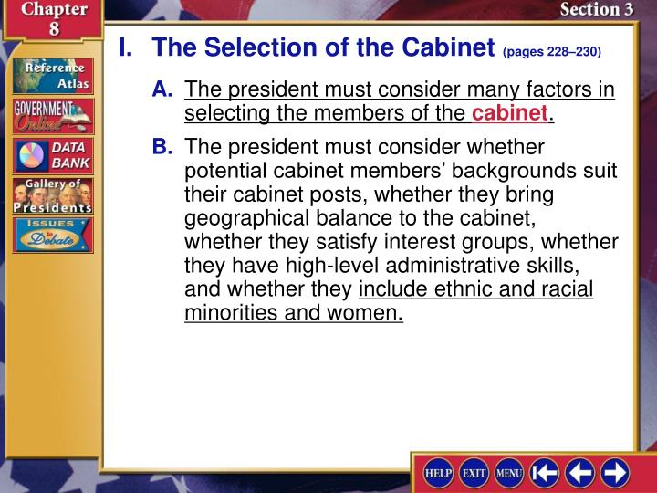 I.The Selection of the Cabinet